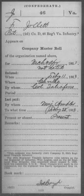 James Franklin Jollett Record of service during the Civil War  http://jollettetc.blogspot.com