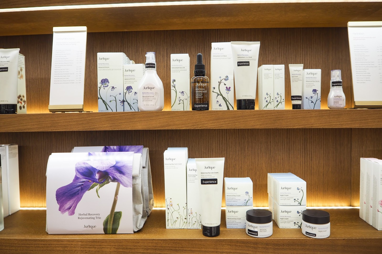 Jurlique's natural skincare products on the shelves.