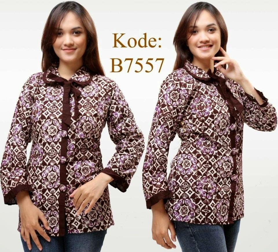 10 Model Baju Batik Kantor Kombinasi Polos Terkini 1000