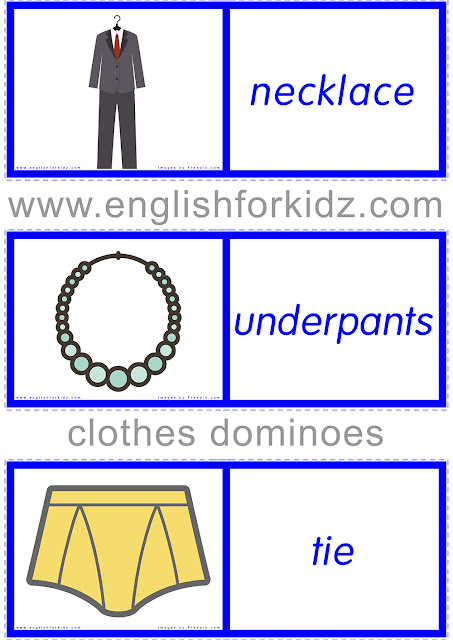 ESL clothes game - printable dominoes