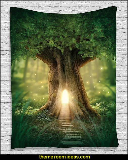 Fairy Tree of Life Enchanted Forest Mystical Lights Digital Printed Tapestry Wall Hanging Wall Tapestry