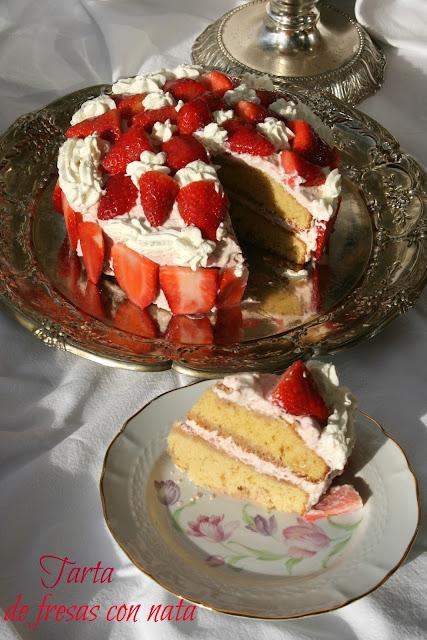 Tarta de fresas con nata,tarta de fresas