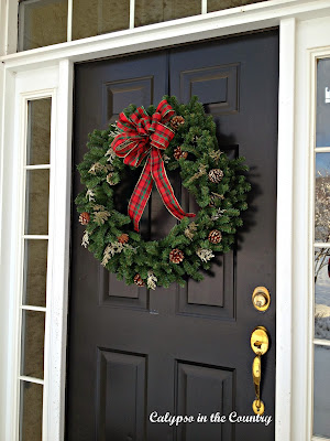 Christmas Wreath with plaid bow