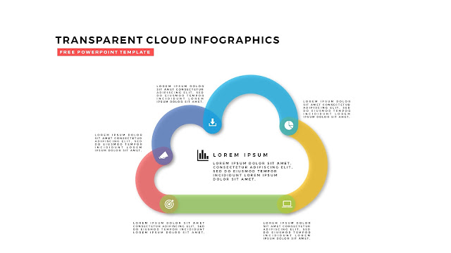 Free Infographic PowerPoint Design Elements with Transparent Clouds in White Background Slide 5