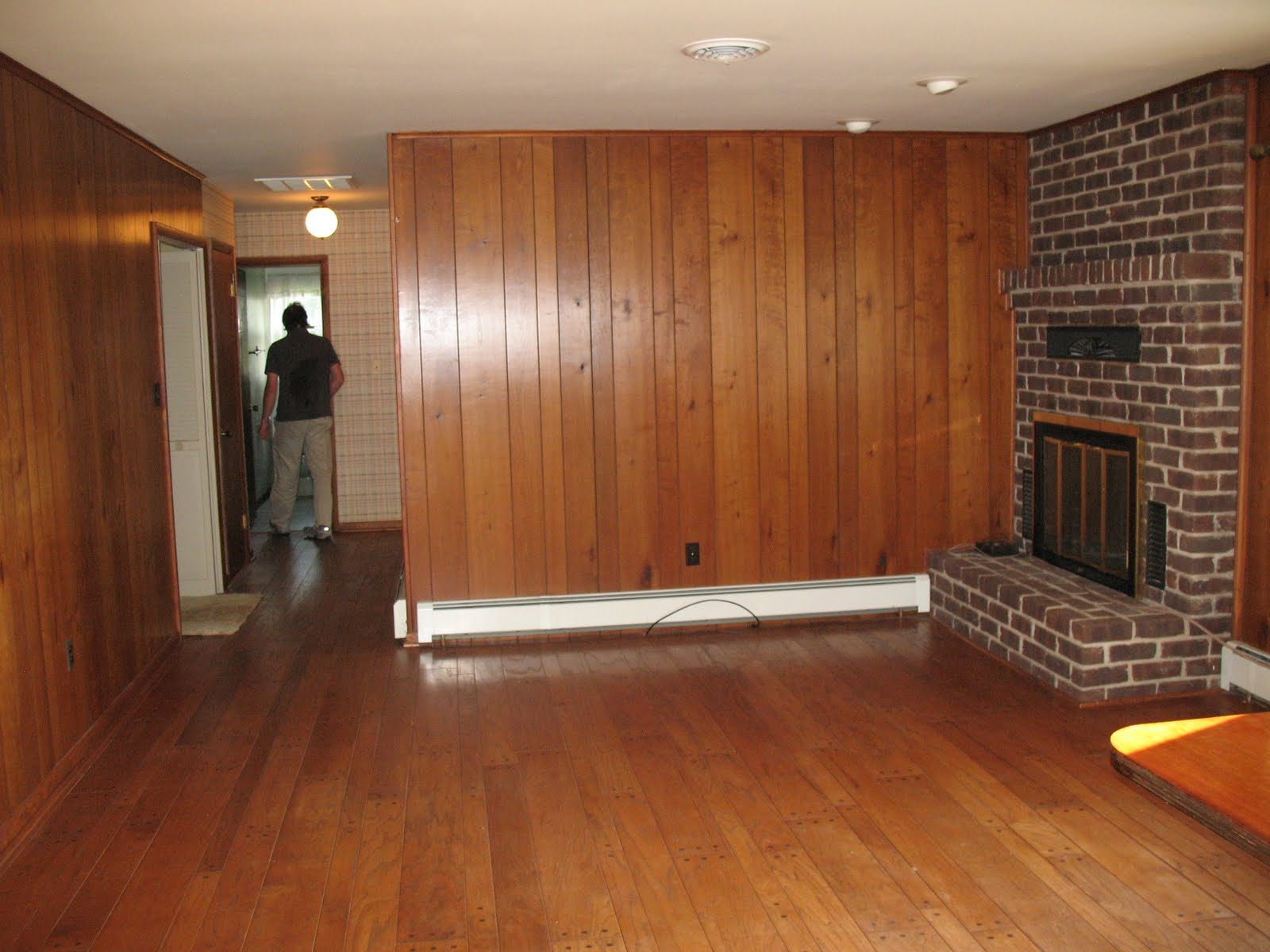 Lara and Bill: Painting wood paneling- The den project
