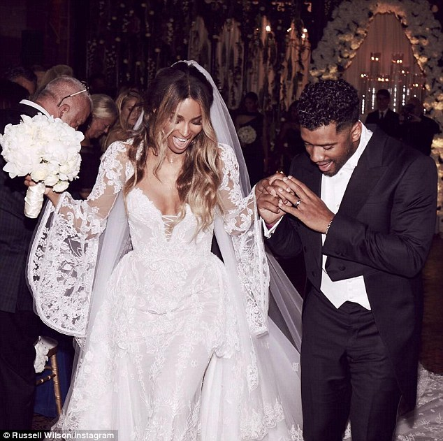 Ciara's wedding dress is a sexy lace Roberto Cavalli gown