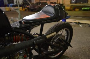 the tail of this custom Dnepr cafe racer