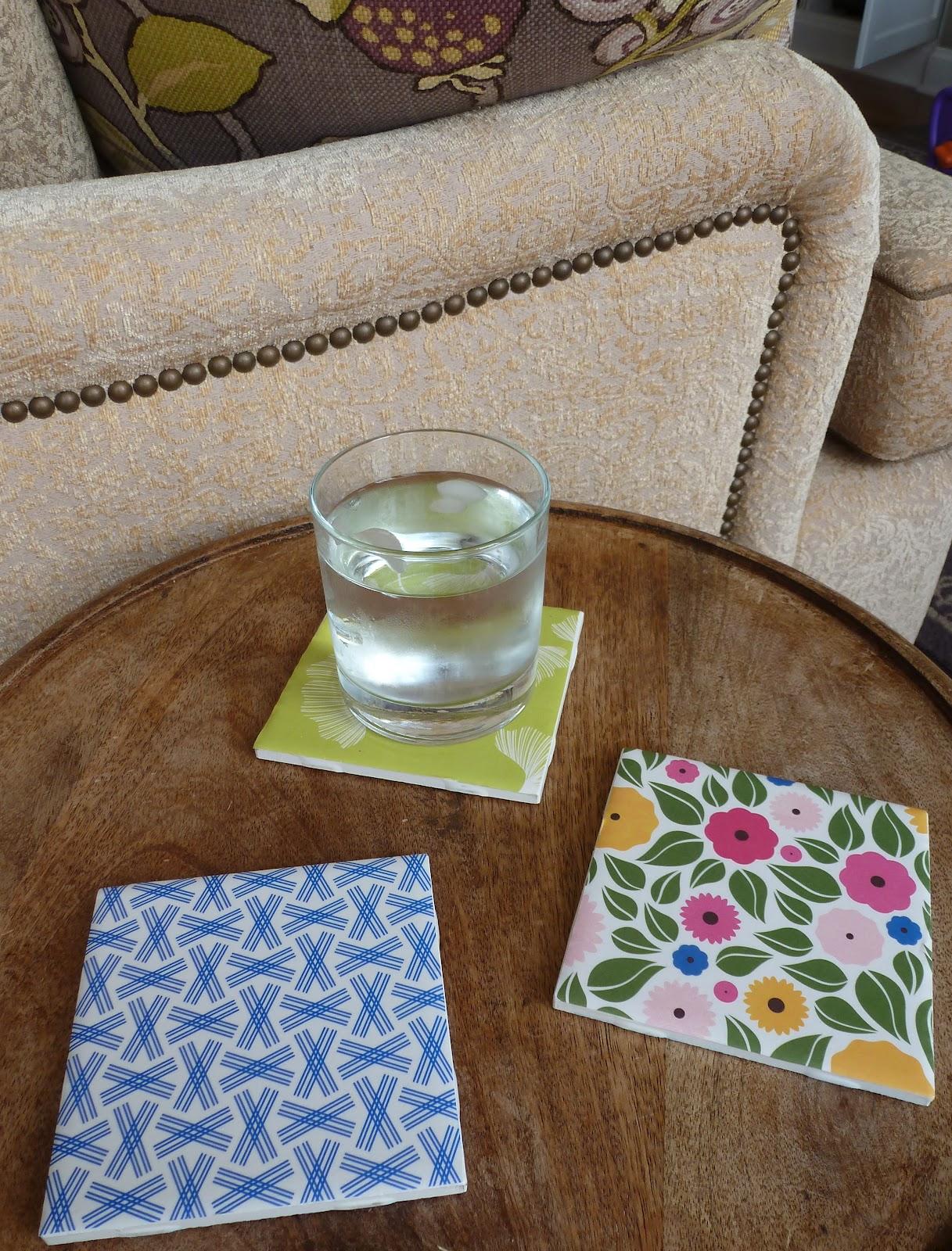 diy night tile coasters with scrapbook