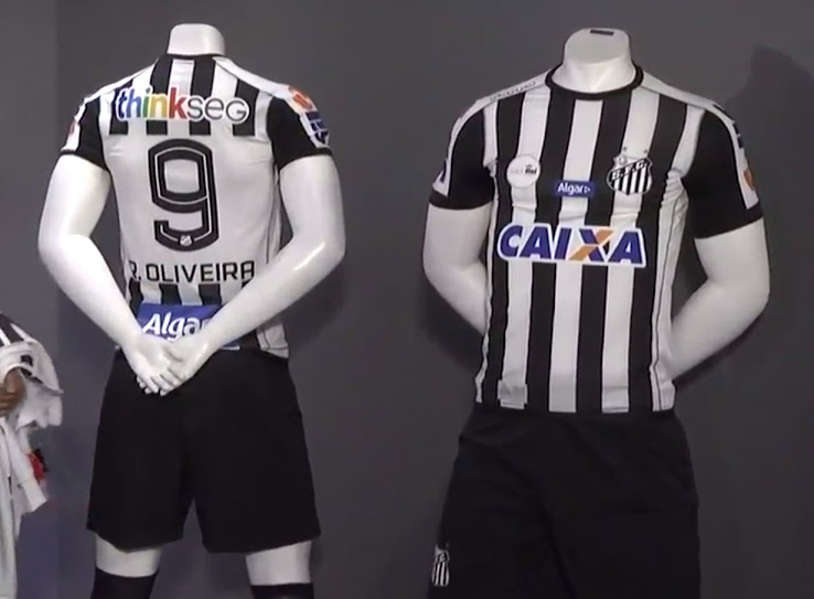 The Kappa logo is applied on the right shoulder area. The new Santos 2017-18  away kit comes with several sponsor logos on the front 62f02a7d64b23