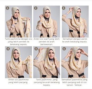 Tutorial hijab scarf segi empat trendy