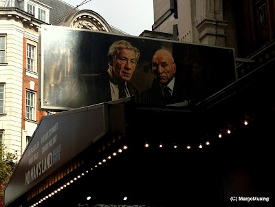 billboard on theatre showing Patrick Stewart and Ian McKellen