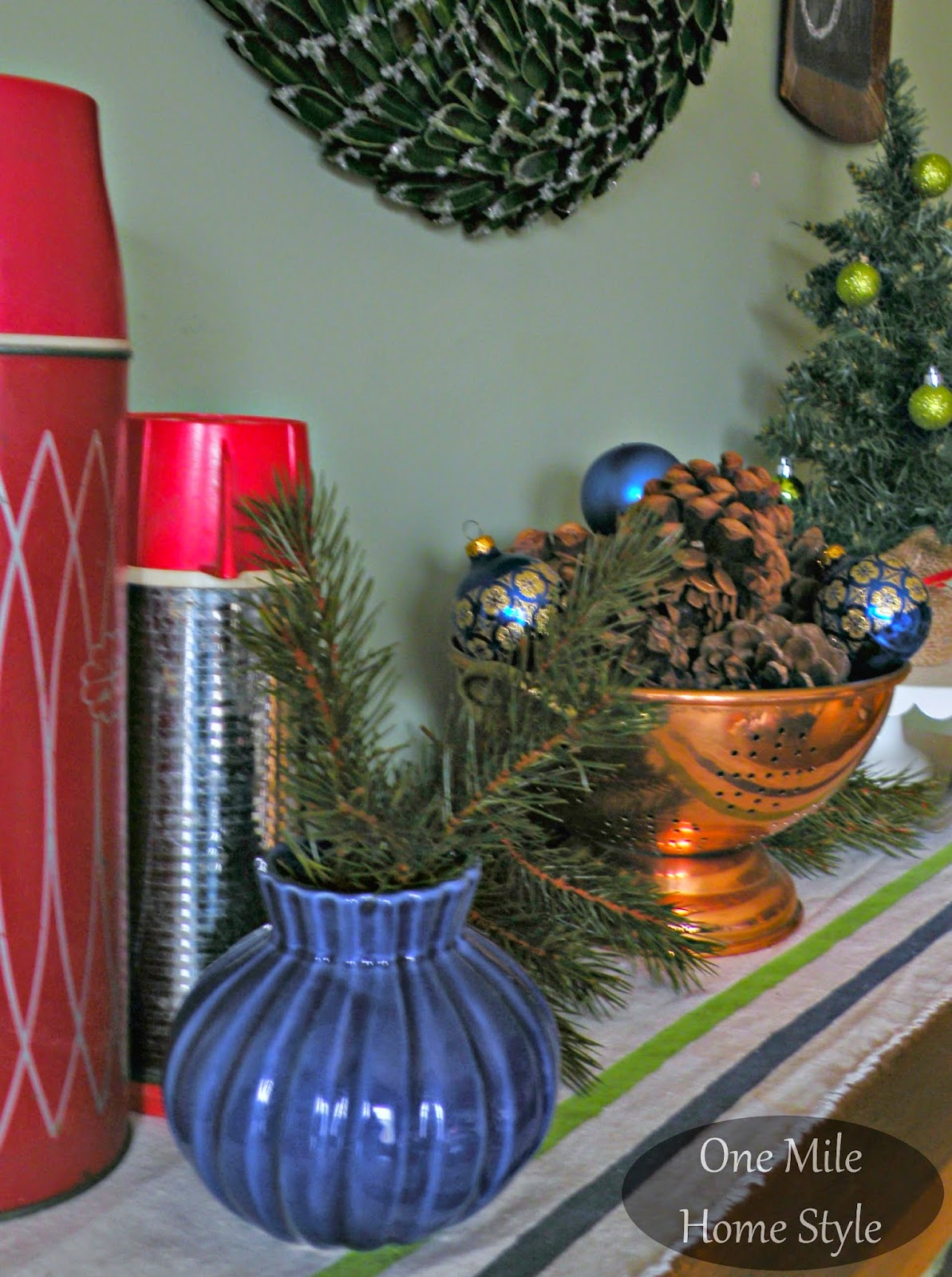 Winter Vignette - Vintage thermos, copper strainer, mini Christmas tree