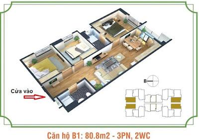 Mặt bằng căn hộ B1