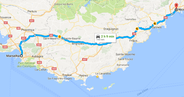 Mapa viagem de carro de Marselha a Nice