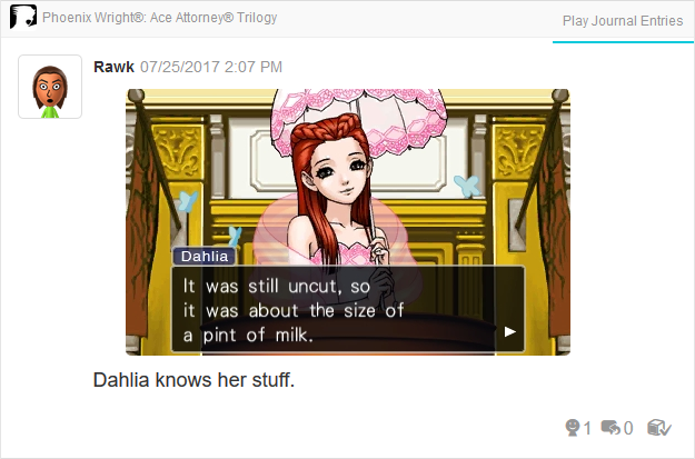 Phoenix Wright Ace Attorney Trials and Tribulations Dahlia Hawthorne pint of milk diamond