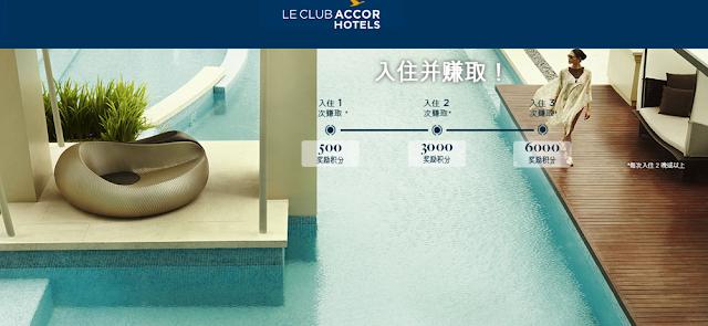 入住Accor雅高酒店最高可獲得最高7500點獎勵積分(價值150歐元約5277台幣)~住越久,賺越多活動