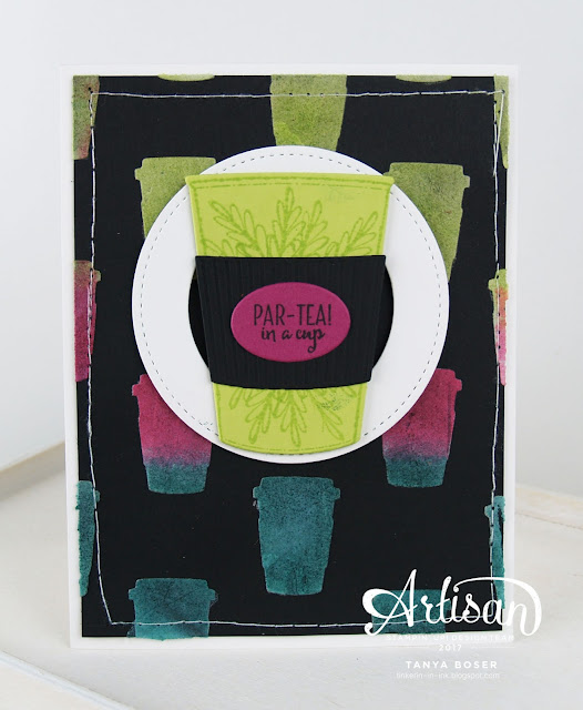 Par-Tea! Neon at that. Merry Cafe' and Embossing Paste from Stampin' Up! team up to create this striking card. Tanya Boser for the Stamp Review Crew