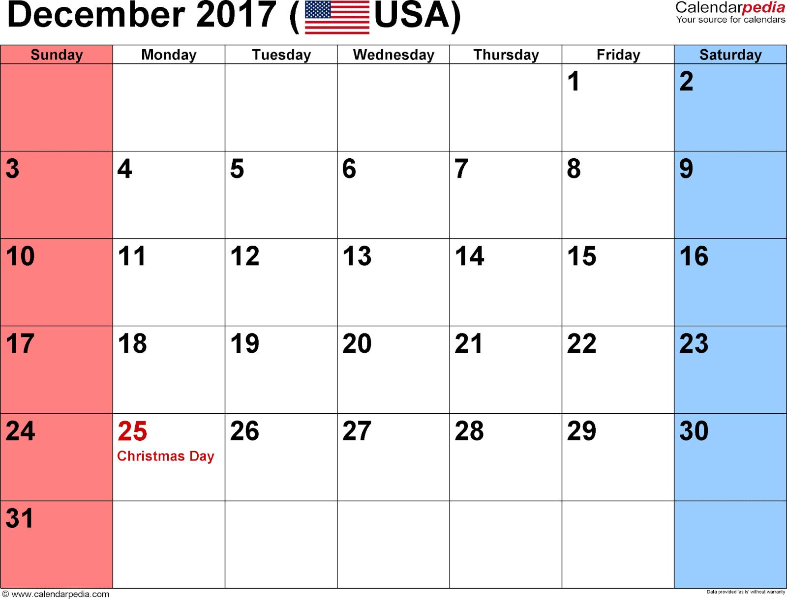 2017 calendar template printable