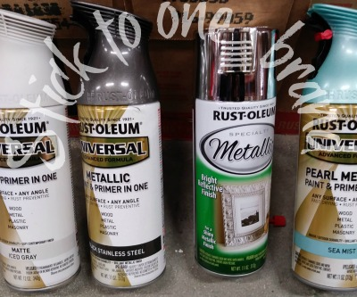 Metallic RustOleum spray paint cans.