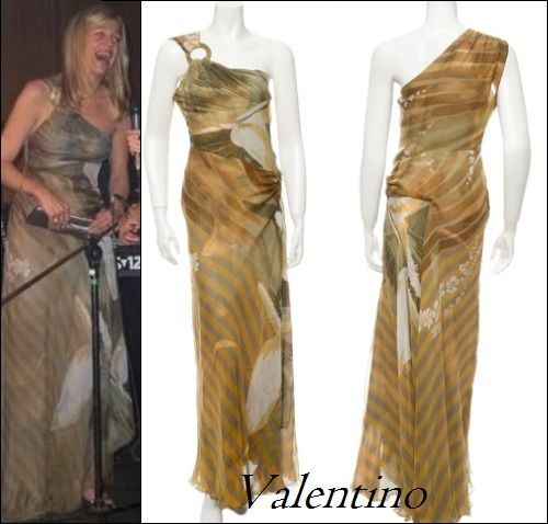 Crown Princess Maxima in RED Valentino metallic one-shoulder a-line dress. Side zip closure. Organza lining