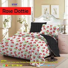 Sprei Custom Katun Lokal Dewasa Rose Dottie Bunga Floral Pattern Pink Putih