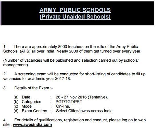image : AWES Army Public School 8000 PGT/TGT/PRT Recruitment 2016 @ TeachMatters