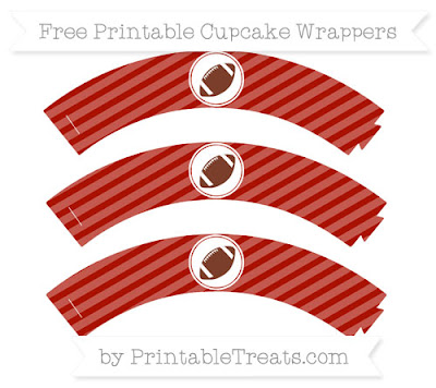 Red Striped Football Cupcake Wrappers by Printable Treats