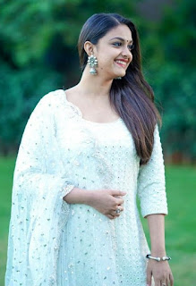 Keerthy Suresh in White Dress with Cute Smile in Sarkar Promotions 1