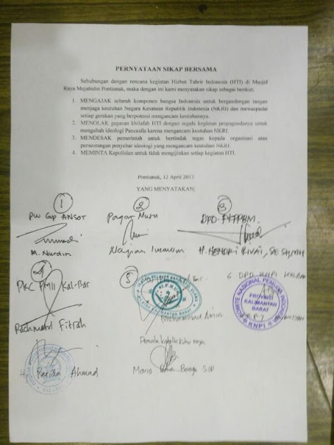 Pernyataan Sikap Bersama OKP dan Ormas Islam Tolak Khilafah