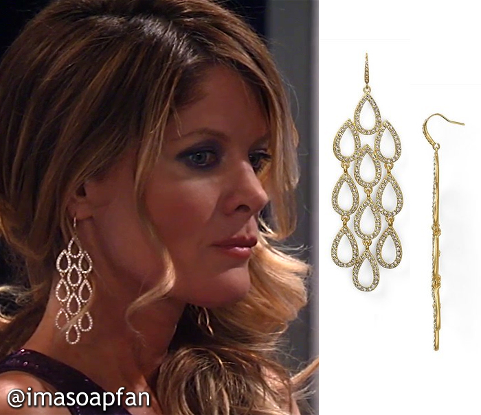Nina Reeves, Michelle Stafford, Pave Teardrop Chandelier Earrings, ABS, Nurses Ball, GH, General Hospital, Season 55, Episode 05/23/17