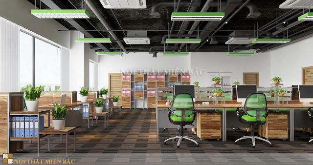 Thiết kế nội thất phòng làm việc với không gian xanh vô cùng tươi mát, mang đến sự thông thoáng nhất