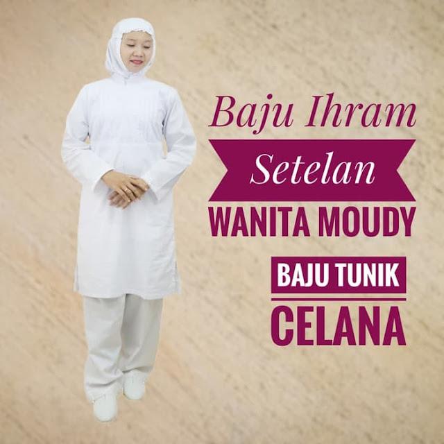 Baju Ihrom Setelan Wanita Moudy, oleh oleh haji, perlengkapan haji
