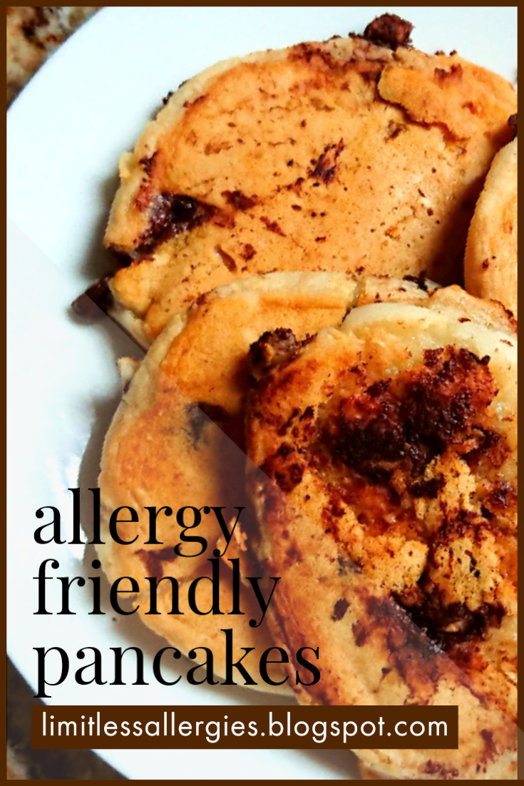 pin image for egg free Allergy Friendly Chocolate Chip Pancakes