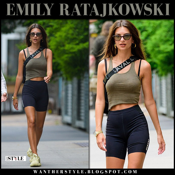 Emily Ratajkowski in black bike shorts kith and khaki top model summer style july 27