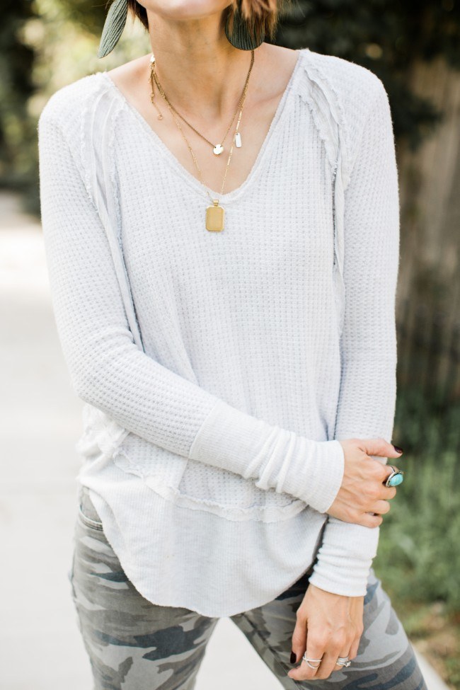 Free People Catalina V-neck Thermal Top.