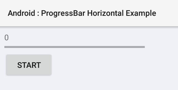 Android horizontal ProgressBar example