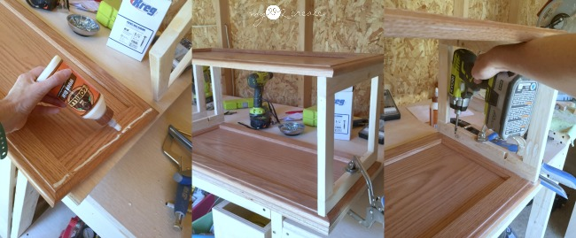 building a bookshelf with cabinet doors and frames made from 1x2's