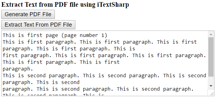Extract text from PDF using iTextSharp