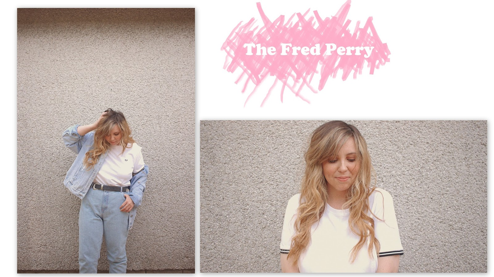 fred perry t-shirt, mom jeans, oversized denim jacket, wimbledon