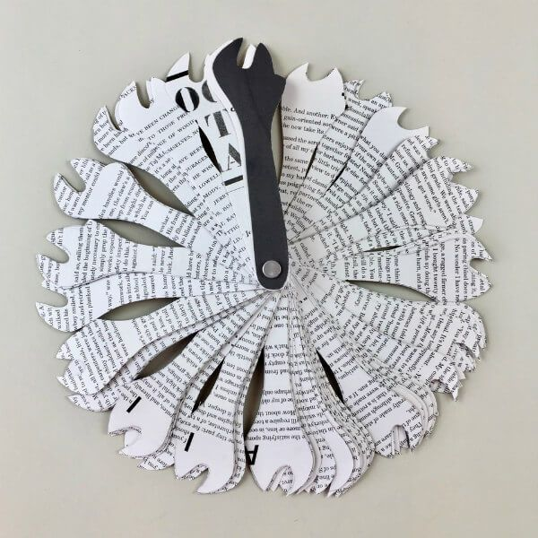 circular artist book made of paper strips