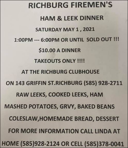 5-1 Richburg VFD Ham & Leek Dinner