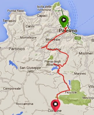 bicycle touring in Sicily cycling from Palermo to Corleone