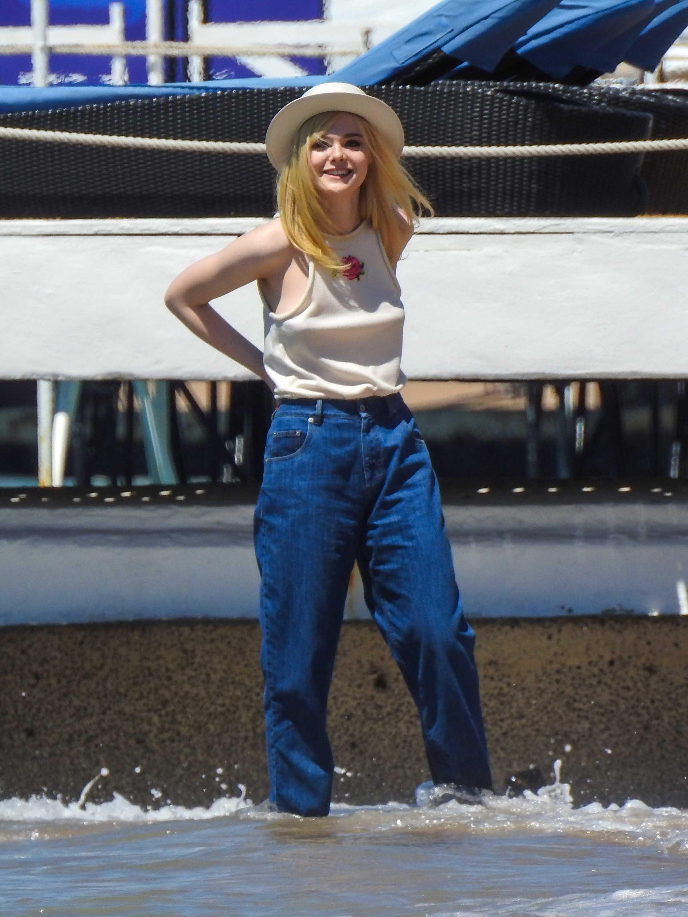 Elle Fanning photoshoot on the Martinez Beach