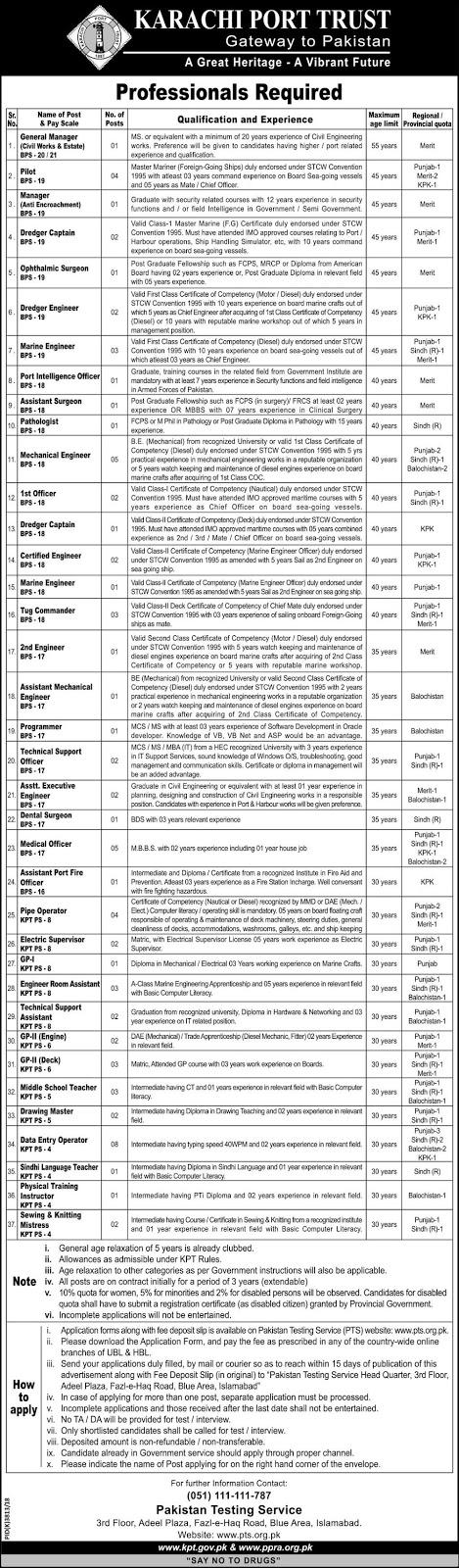 Advertisement for Karachi Port Trust Jobs 2019