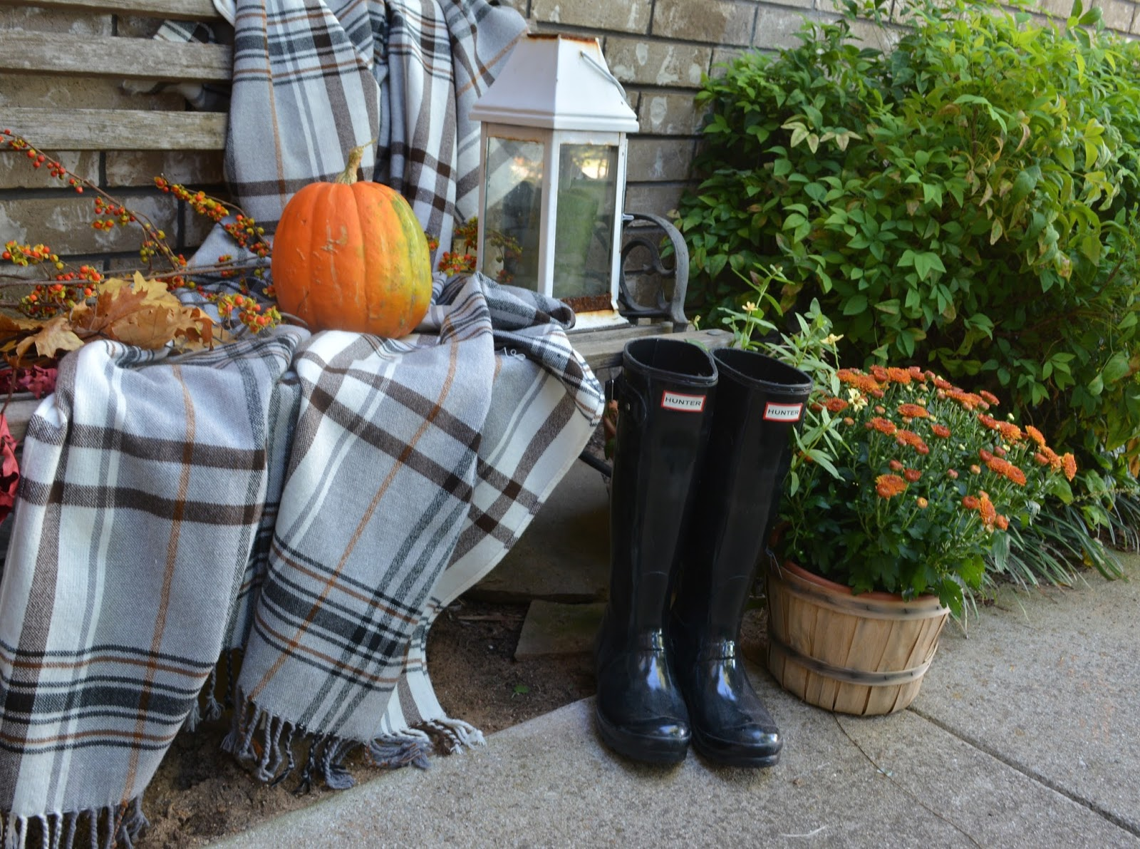 Hunter Rain Boots, Hermine Throw, Bittersweet, Mums, Lantern