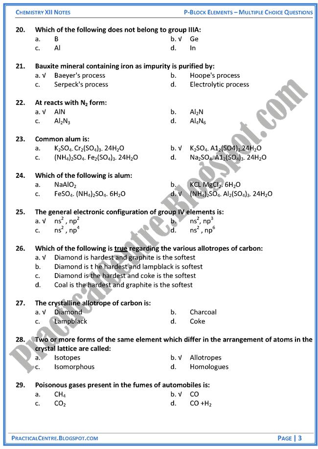 p-block-elements-mcqs-chemistry-12th