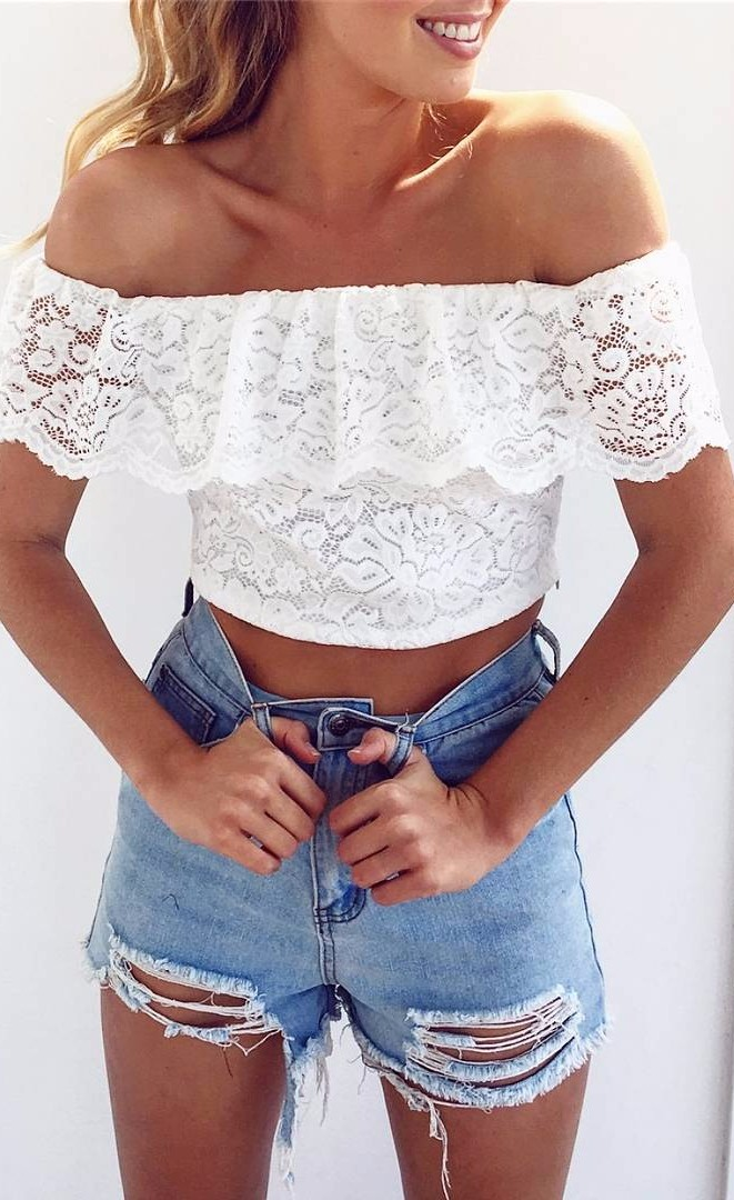 how to wear lace with denim