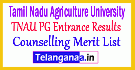 TNAU PG Entrance Results 2018 Counselling Merit List