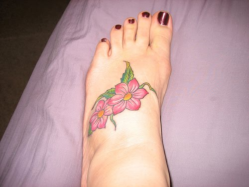 Fashion And Styles Flower Foot Tattoos