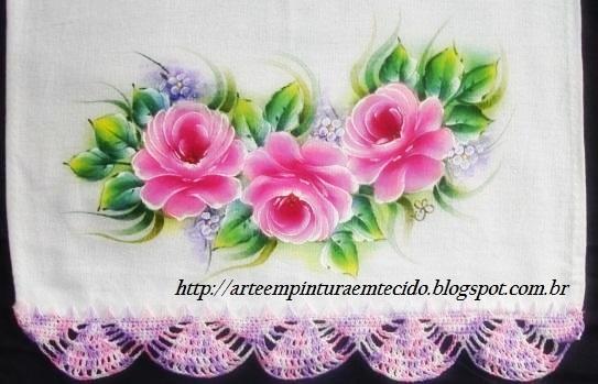 pintura em tecido rosas pano de prato crochê